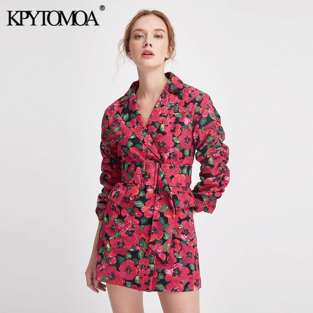 [해외]Vintage Stylish Floral Print Suits Style Mini Dress Women 2019 Fashion Notched Collar With Belt Dresses Casual Vestidos Mujer/Vintage St