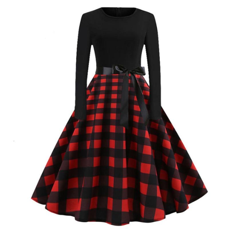 [해외]RICORIT Women Christmas Dress Swing Elegant Women Print Dress Party Dresses Long Sleeve Dress Vintage Women Dress Robe Plus Size/RICORIT
