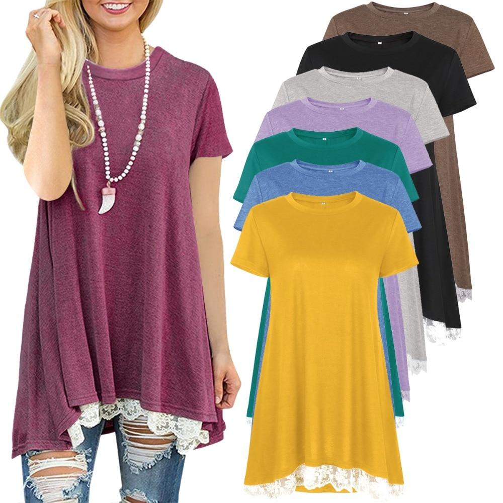 [해외]Summer Lace Shirts 2020 New Womens Tops And Blouses Short Sleeve Splice Shirt Women Tunic Tops Casual Loose Patchwork Bluses/Summer Lace