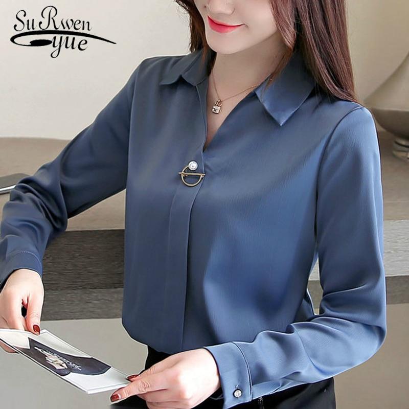 [해외]fashion woman blouses 2019 solid chiffon blouse shirt long sleeve women shirts office blouse womens tops and blouses 1783 50/fashion wom