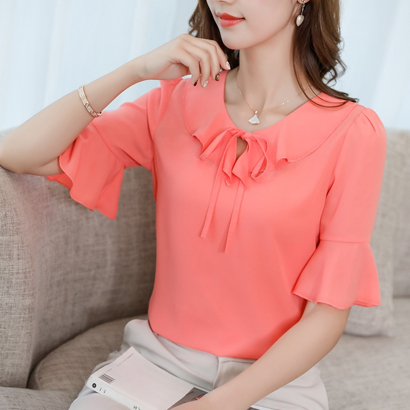 [해외]Korean Womens Chiffon Blouse Elegant Office Ruffles Tie Neck Half Sleeve Slim Shirts Summer Blouse 2019 Sweet Pink Top Blusas/Korean Wom