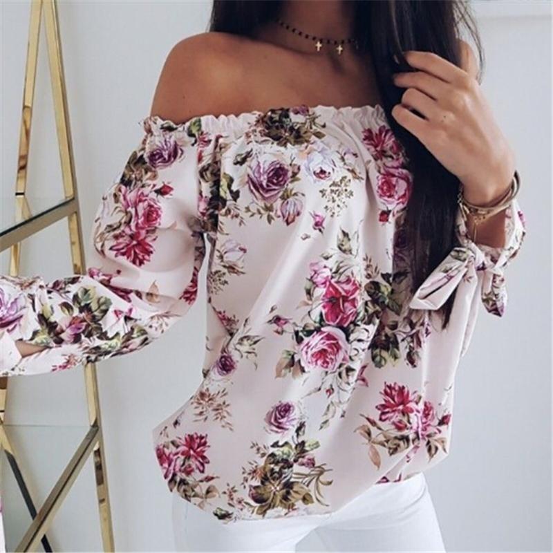 [해외]Women Off Shoulder Floral Blouse Shirt 2019 Summer Casual Tops Lady Loose Print Shirt Fashion Short Sleeve Slash Neck Clothes/Women Off