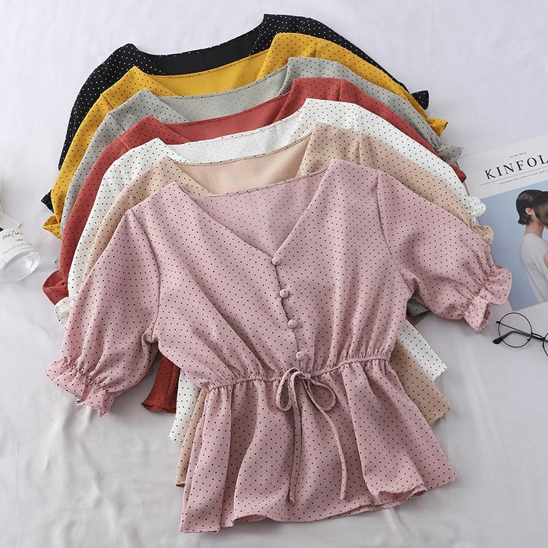 [해외]Chic Women Chiffon Shirt Kawaii Polka Dot Butterfly Sleeve Summer Shirt 2019 Korean Casual V-Neck Ladies Button Lace Up Shirt/Chic Women
