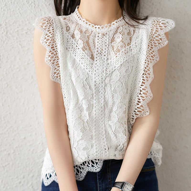 [해외]MUMUZI White Blouse Women Casual basic sleeveless lace Tops black Hollow out womens tops and blouses Ruffles Shirt Female/MUMUZI White B