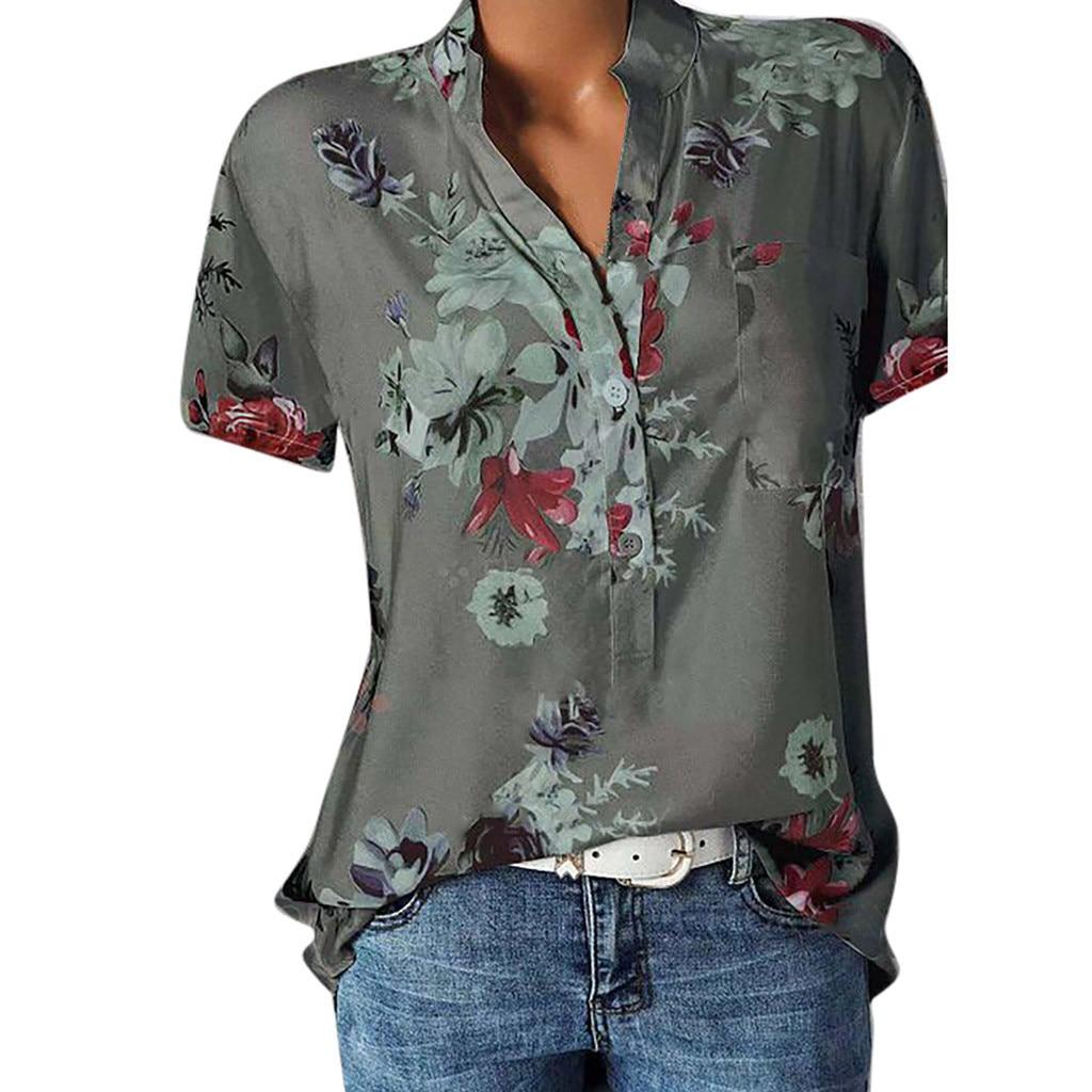 [해외]Blouse Women Plus Size Printing Pocket Short Sleeve Blouse Boho Women Tunic Easy Top Shirt Casual Womens Tops And Blouses Blusas/Blouse