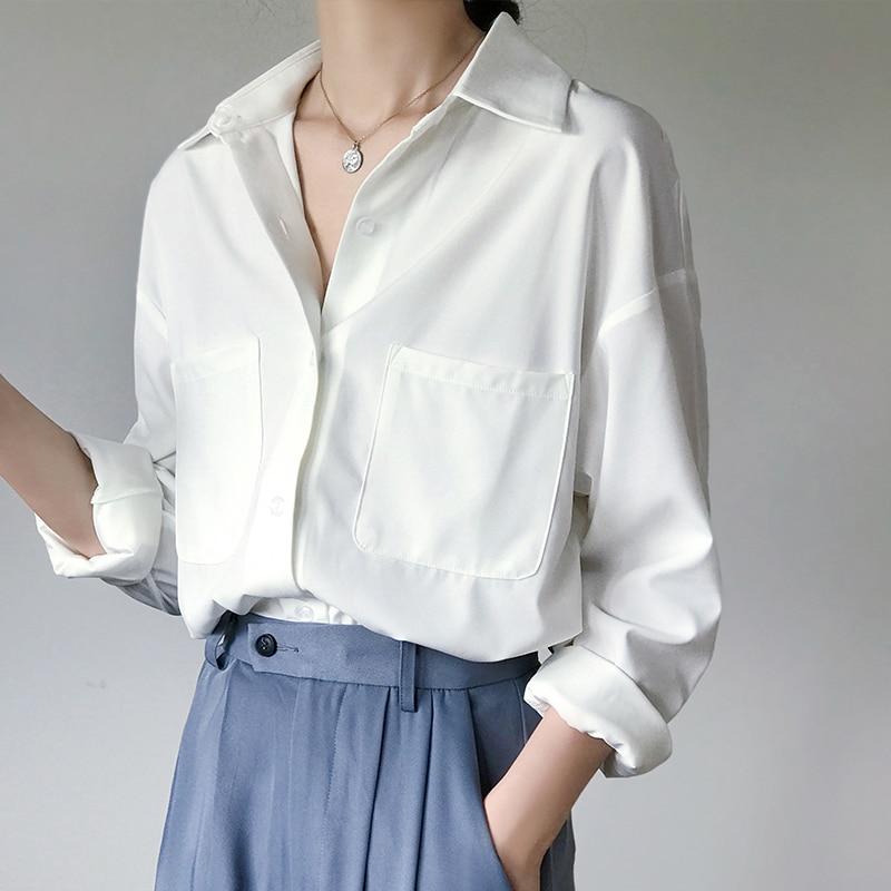 [해외]OL Style White Shirts for Women Turn-down Collar Pockets Women Blouse Tops Elegant Workwear Female Tops blusas femme 2019 Autumn/OL Styl