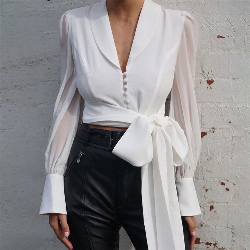 [해외]2019 Autumn Women Chiffon Blouse Shirt Lace Up Long Sleeve Solid White Ladies Blouse For Women Female/2019 Autumn Women Chiffon Blouse S