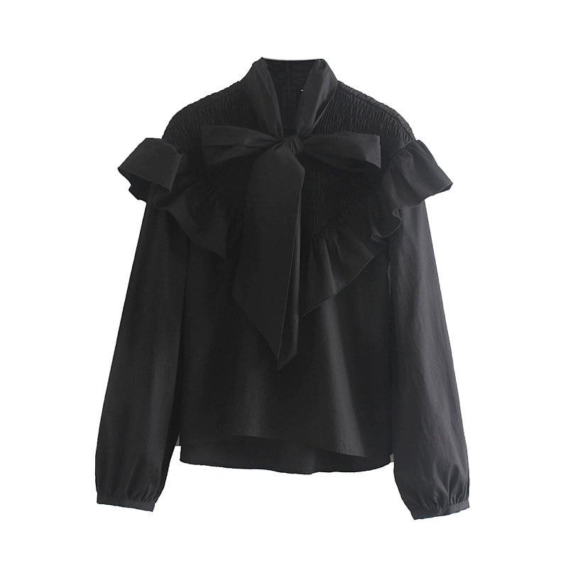 [해외]women high street bow collar cascading ruffles casual smock blouse shirts women lantern sleeve elastic black blusas tops LS4148/women hi
