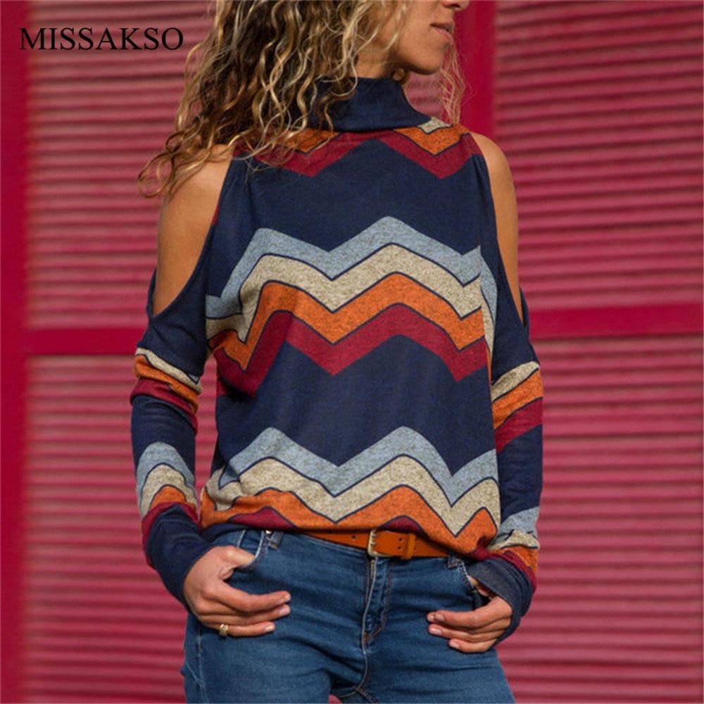 [해외]Knitted Print Off Shoulder Women Blouse Turtleneck Spring Autumn Fashion Lady Tops Shirt Plus Size Blusas Camisas Mujer/Knitted Print Of