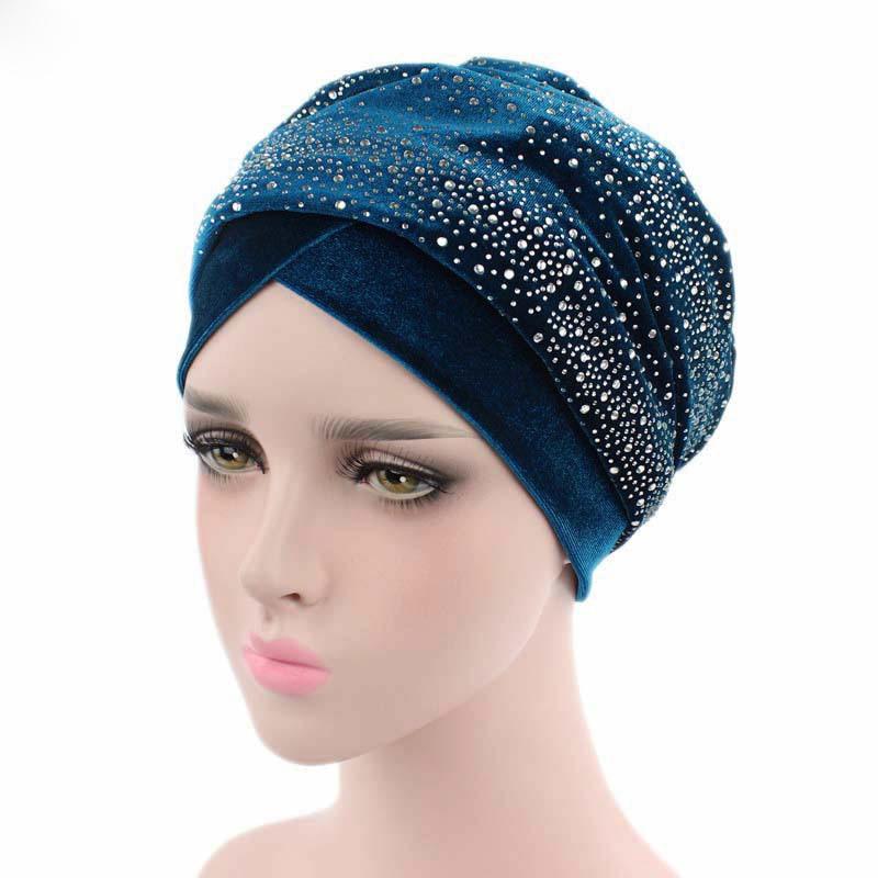 [해외]2018 거인 스타 라인 석 Velevet 머리띠 이슬람 긴 꼬리 스카프 모자 래핑 된 머리 장식 TJM - 38C 헤어 액세서리/2018 Giant Star Rhinestone Velevet Headband Muslim Long Tail Scarf Hat Wr