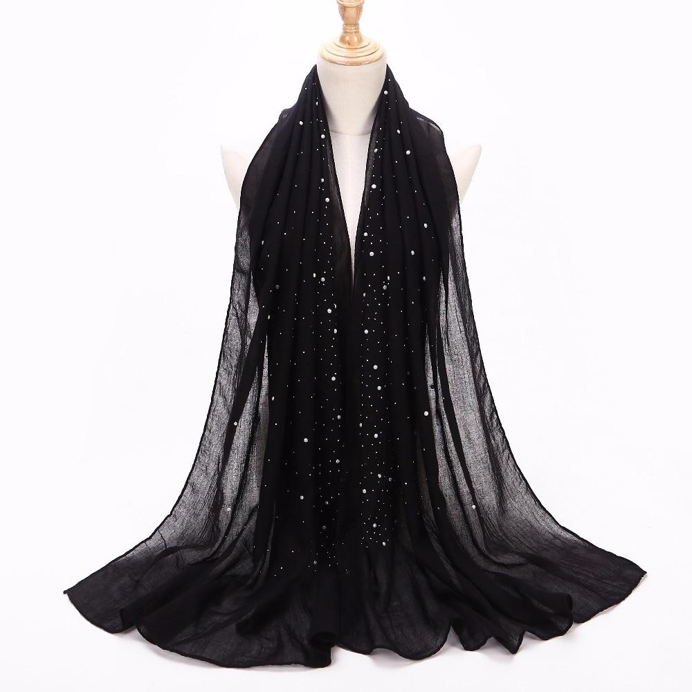 [해외]1 pc 여성용 일반 철제 비즈 스카프 면화 스카프 실버 진주 스카프 머플러 머리띠 랩 무슬림 스카프 shawls/1 pc Women`s plain Iron beads scarf cotton scarves studs silver pearls scarves muf