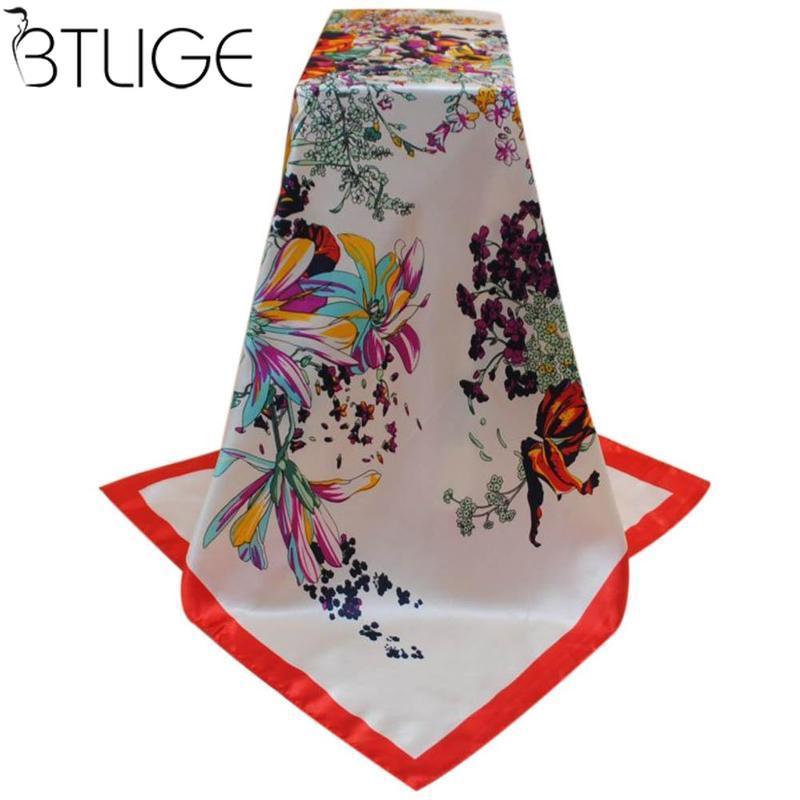 [해외]여자 스카프 실크 꽃 프린트 풀라 레드 새틴 스퀘어 헤드 스카프 여성 Luxury Designer Shawls 90 * 90cm Bandana Large Muslim Hijab/Women Scarf Silk Floral Print Foulard Satin Squ