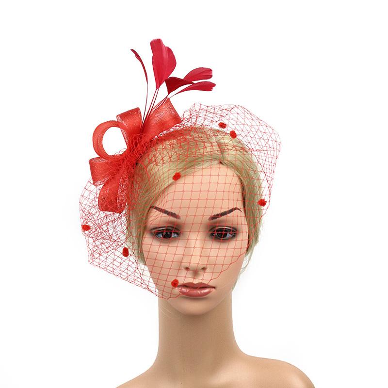 [해외]빈티지 꽃 머리띠 신부 헤어 베일 패션 깃털 그물 보우 헤어 핀 웨딩 파티 머리 장식 헤어 액세서리 여성 JL/Vintage Flower Headband Bridal Hair Veil Fashion Feather Net Bow Hair Pins Wedding P