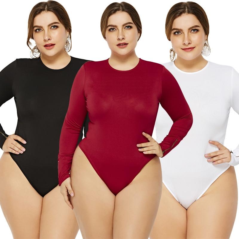 [해외]5XL6XL Casual Jumpsuits For Women Long Sleeve O-neck Slim Women Sexy Bodysuit Black White Red Knitted Plus Size Women Romper/5XL6XL Casual Jumpsui