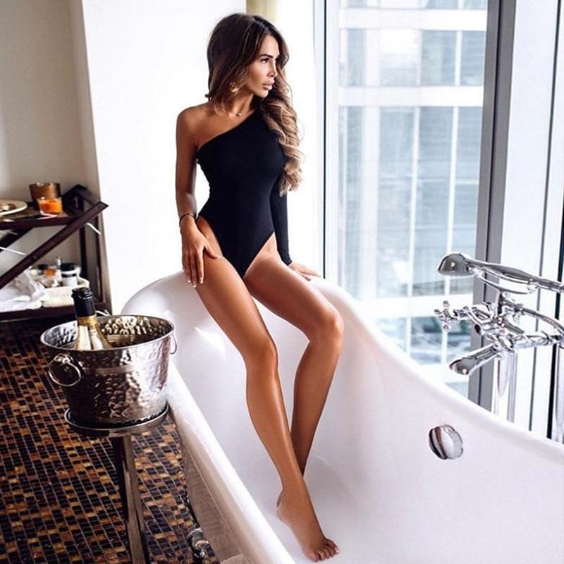 [해외]Black One Shoulder Basic Bodysuit Rib Knit Elegant Women Sexy Autumn Bodysuits 2019 Fashion Long Sleeve Skinny Bodysuit/Black One Should