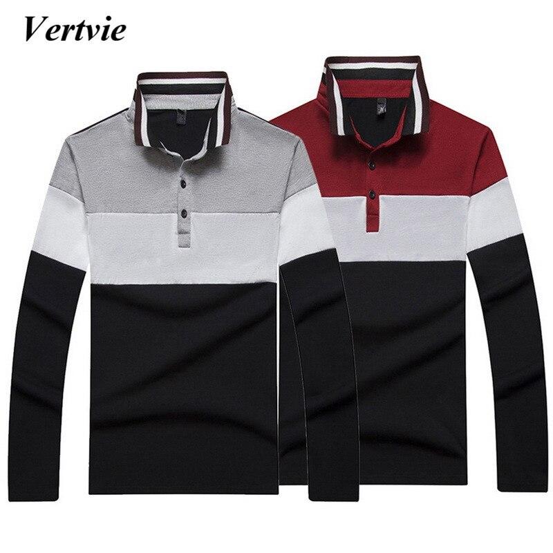 [해외]VERTVIE 브랜드 2018 스트라이프 폴로 셔츠 남성용 남성 긴팔 셔츠 클래식 캐주얼 패치 워크 피트니스 의류 플러스 사이즈 2XL/VERTVIE Brand 2018 Striped Polo Shirt Men Long Sleeve Shirt For Male C