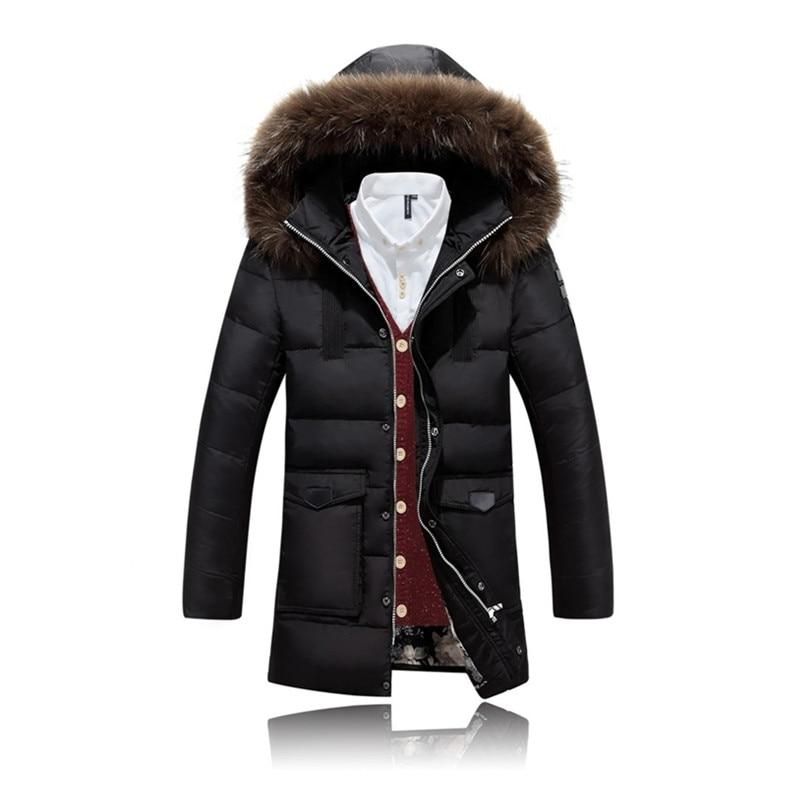 [해외]남성용 겨울 자켓 Black Coat Faux Fur Collar Casual Hooded 두꺼운 따뜻한 흰색 오리 자켓 남성 Anti-Snow Parka Homme FYY044/Men`s Winter jackets Black Coat Faux Fur Colla