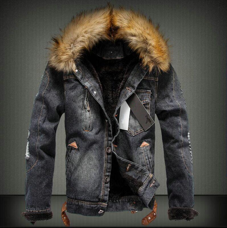 [해외]겨울 남성 찢어 진 장화 윈드 브레이커 코트 남성 데님 양털 재킷 가짜 모피 칼라 남성 따뜻한 외투 chaquetas hombre 101609/Winter Men Ripped Jean Windbreaker Coat Male Denim Fleece JacketFa