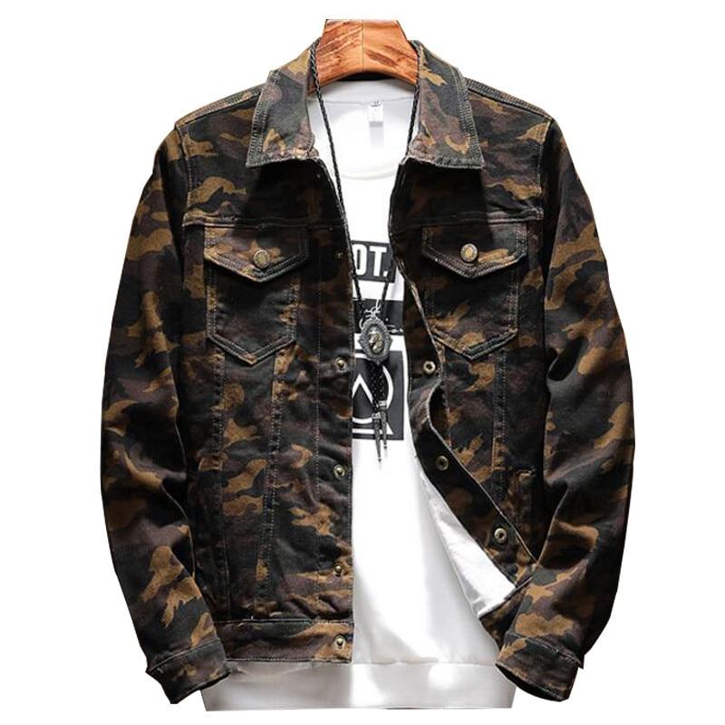 [해외]MORUANCLE 2018 봄 뉴 Mens Camouflage Jeans Jacket 패션 캐모 데님 재킷 남성용 다운 턴 칼라 플러스 사이즈 M-5XL/MORUANCLE 2018 Spring New Mens Camouflage Jeans Jacket Fashi