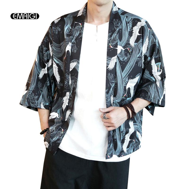 [해외]사이즈 M - 5XL 남성 기모노 카디건 셔츠 코트 일본식 인쇄 패션 캐쥬얼 얇은 자켓 여름 아우터/Size M-5XL Men Kimono Cardigan Shirt Coat Japanese Style Printing Fashion Casual Thin Jack