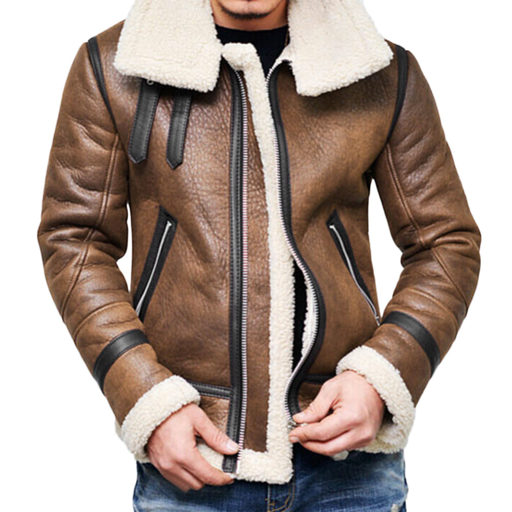 [해외]/Mens Leather Jackets Men Jacket PU Casual Plus Thick Warm Wide-Collared Winter Faux Biker Coats Windproof Dropshipping WS&&D