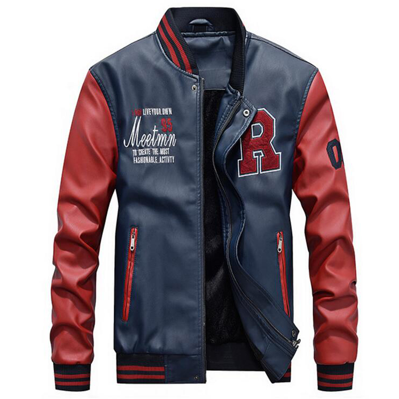 [해외]/2018 NEW Men Jacket Men Embroidery Baseball Jackets Pu Leather Coats Slim Fit College Luxury Fleece Pilot Leather Jackets