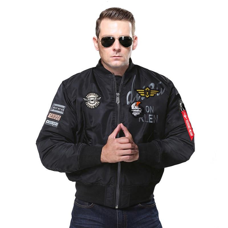[해외] 2018 Autumn Bomber Pilot Jacket Eagle Embroidery Badge Casual Outerwear Men/Women Air Force Military MA1 Flying Jackets Coats / 2018 Autumn Bombe