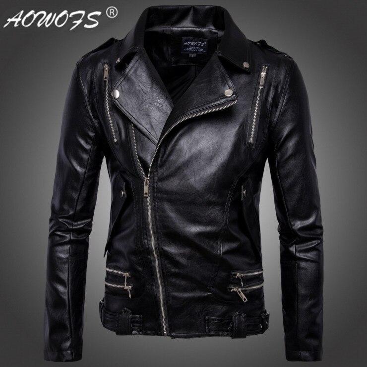 [해외]AOWOFS motorcycle leather jacket men Europe and America design Multi-zipper men leather jackets coats jaqueta de couro masculina/AOWOFS motorcycle
