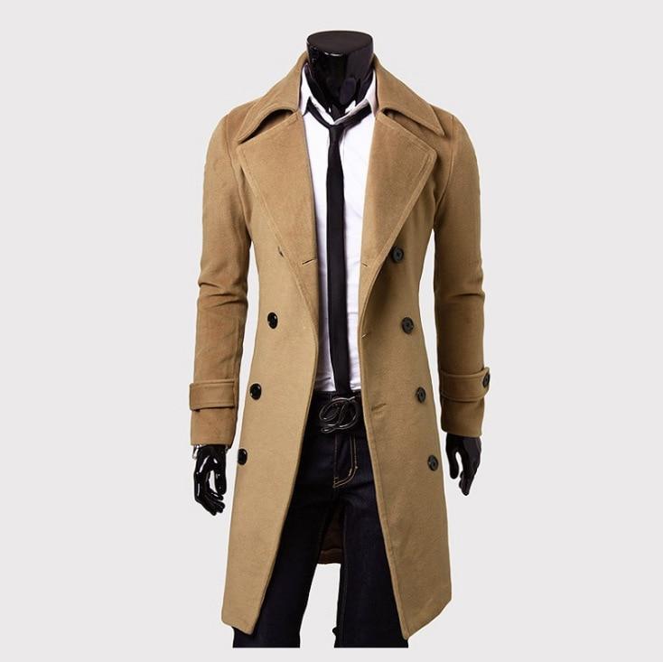 [해외]남성 트렌치 코트 새 패션 디자이너 남자 롱 코트 가을 겨울 더블 브로드 티드 방풍 슬림 트렌치 코트 남성용 사이즈/Mens Trench Coat  New Fashion Designer Men Long Coat Autumn Winter Double-breaste