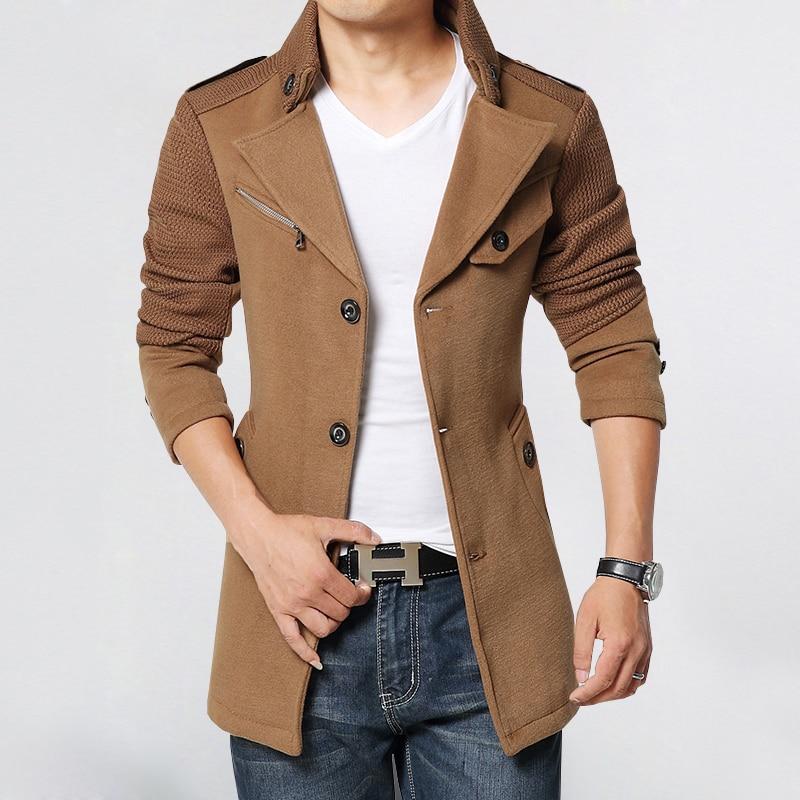 [해외]가을 새로운 디자인 모직 트렌치 코트 남자 패션 배지 패치 워크 슬림 맞는 겉옷 망 코트 따뜻한 겨울 외투 AA0010/autumn new design woolen Trench coat men fashion badges patchwork Slim Fit Oute