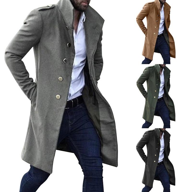 [해외]2019 패션 남자 코트 겨울 따뜻한 솔리드 컬러 긴 트렌치 자 켓 코트 남성 단일 브레스트 비즈니스 캐주얼 오버 코트 파 카 xxl