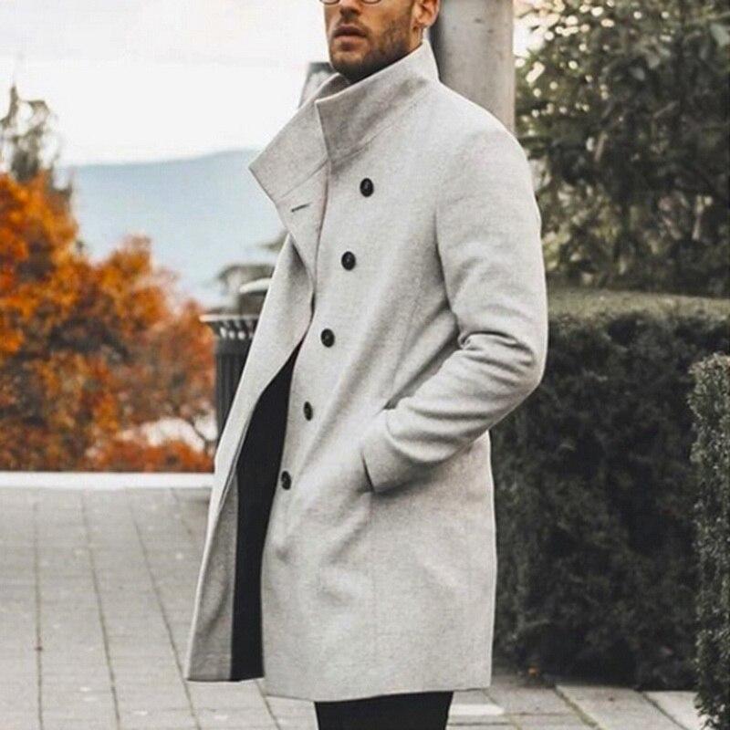 [해외]가을 겨울 남성 브랜드 트렌치 코트 streetwear 캐주얼 솔리드 슬림 칼라 코트 롱 코트 남성용 윈드 브레이커 빈티지 블렌드 코트/가을 겨울 남성 브랜드 트렌치 코트 streetwear 캐주얼 솔리드 슬림 칼라 코트 롱 코트 남성용 윈드