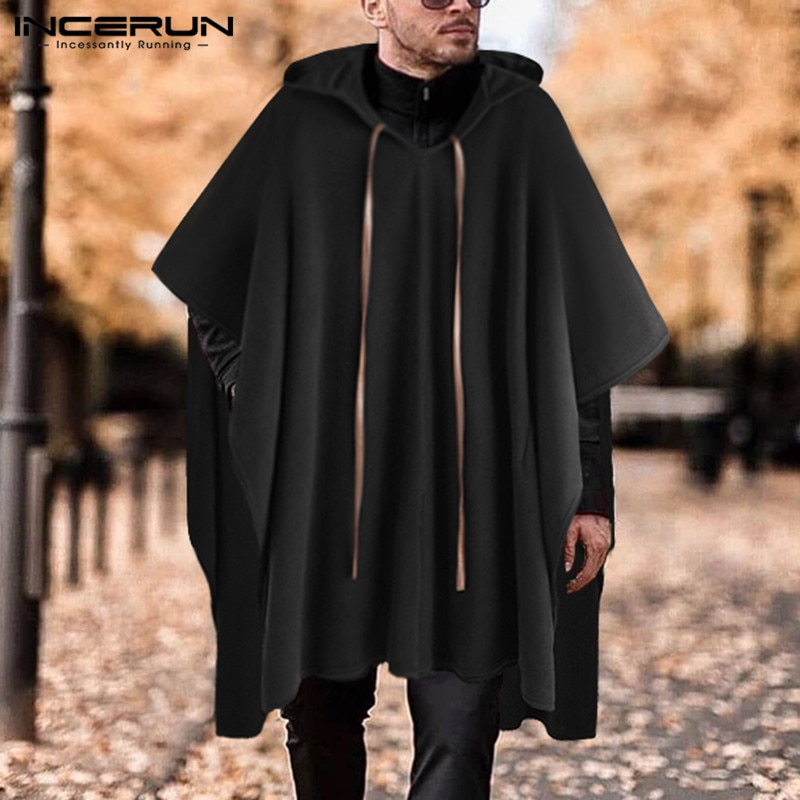 [해외]Incerun 패션 남성 망토 코트 후드 솔리드 컬러 케이프 2019 streetwear 판초 v 넥 루스 코트 불규칙한 남성 롱 트렌치 S-5XL/Incerun 패션 남성 망토 코트 후드 솔리드 컬러 케이프 2019 streetwear 판초