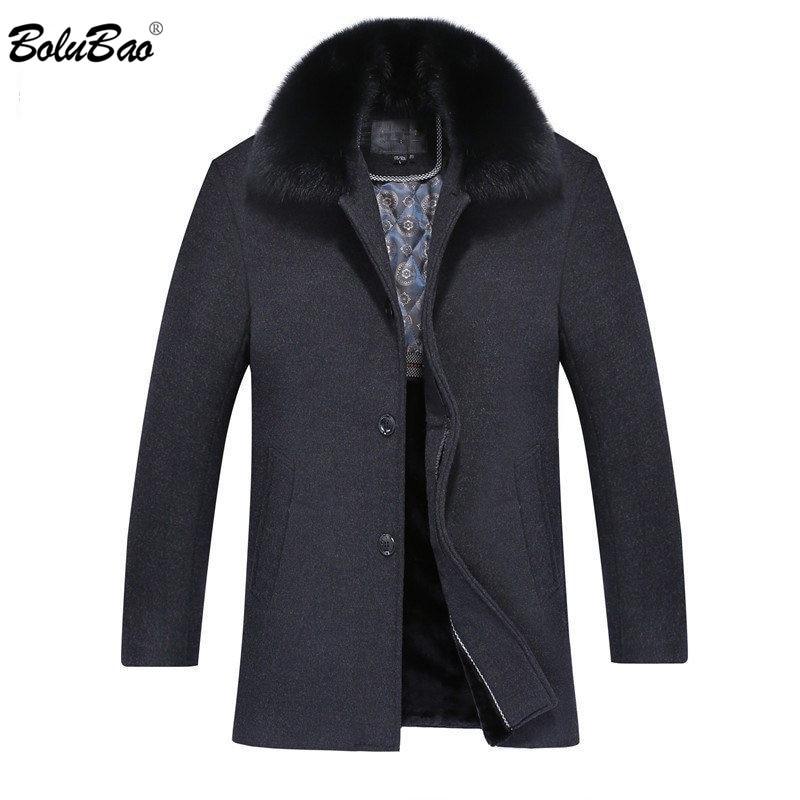 [해외]BOLUBAO Fashion Brand Men Casual Coat 2019 Autumn Winter Male Woolen Trench Coat Business Men`s Fur Collar Warm Overcoat Coats/BOLUBAO Fashion Bra