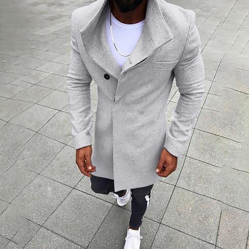 [해외]Men Winter Coat New Fashion Mens Wool Jacket Button Solid Color Long Sleeved Windbreaker Wool Coat Men Long Trench Coat Men/Men Winter C