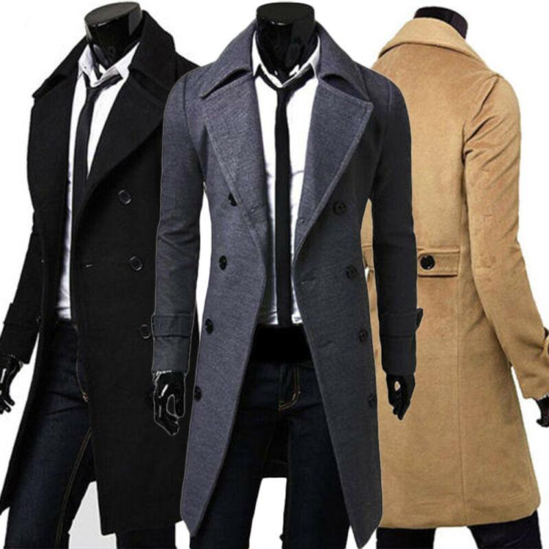[해외]2019 Men Jacket Warm Winter Trench Coat Long Outwear Button Overcoat Male Casual Windbreaker Overcoat Jackets coats Wool Blends/2019 Men