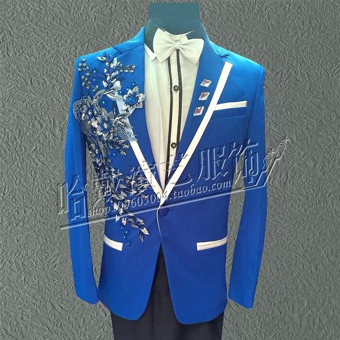 [해외]S-6XL 2018 The new embroidery suit MC presided over a suit Singer stage costumes /S-6XL 2018 The new embroidery suit MC presided over a suit Singe