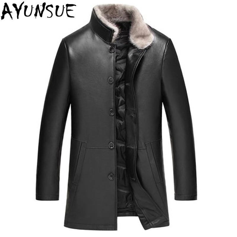 [해외]AYUNSUE Men`s Genuine Leather Jacket 2018 New Winter Real Sheepskin Jackets Male Pure Mink Fur Coat Outwear chaqueta cuero L2356/AYUNSUE Men`s Gen