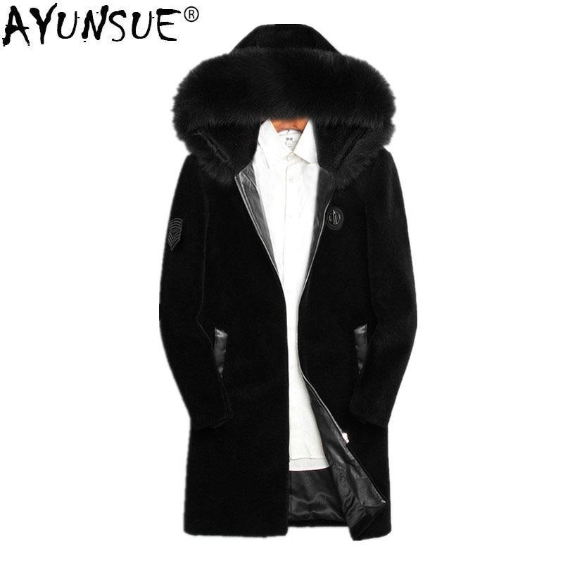 [해외]AYUNSUE 2018 Winter Jacket Men Real Sheep Shearing Fur Coat Real Fox Fur Collar Jackets Mens Natural Wool Fur Coats  MY730/AYUNSUE 2018 Winter Jac
