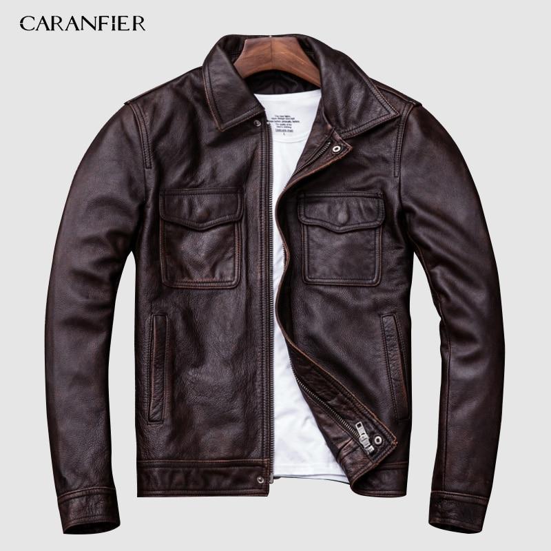 [해외]CARANFIER Brand Vintage Leather Jacket Men 100% Cowhide Red Brown Black Natural Leather Jackets Mens Leather Coat Autumn M174/CARANFIER