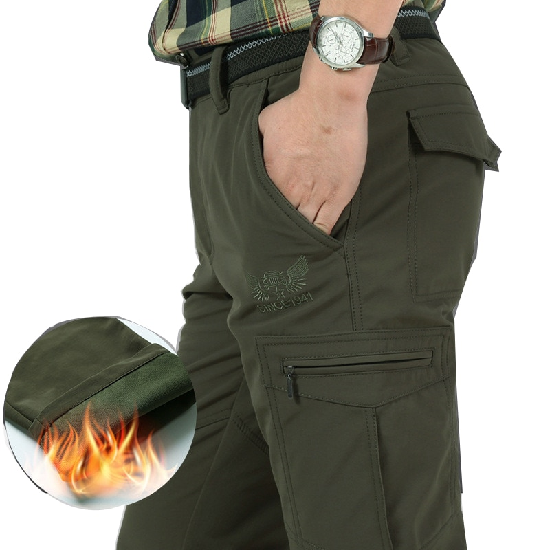 [해외]Mens Waterproof Winter Thick Warm Fleece Cargo Pants Casual Military Army Long Trouser Straight Baggy Jogeer Worker Pants M-4XL/Mens Wat