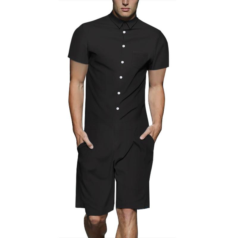 [해외]Men Rompers Fashion Solid Color Patchwork Jumpsuit Summer Hoiday Hawaiian Playsuit Overalls One Piece Slim Fit Men`s Sets M-3XL/Men Rompers Fashio