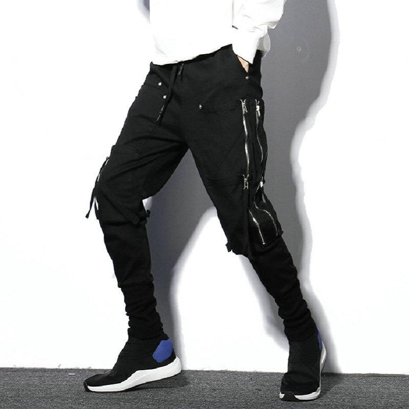 [해외]Black Streetwear Harem Pants Men Hip Hop Zipper Pockets Male Sweatpants Night Club Trousers Casual Slim Joggers Men/Black Streetwear Harem Pants M