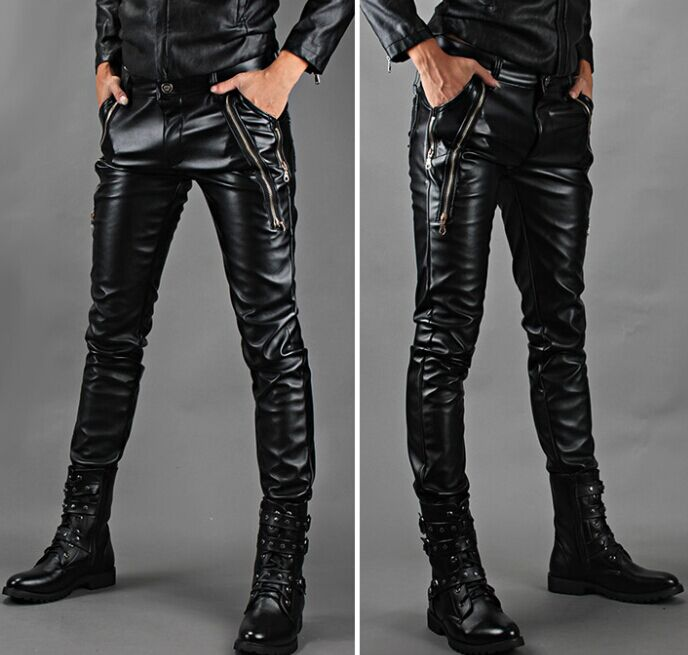 [해외]HOT 2019 NEW fashion men 옷 zipper 물 wash PU leather pants 오토바이 방풍 오토바이 pants black 바지/HOT 2019 NEW fashion men 옷 zipper 물 wash PU leathe