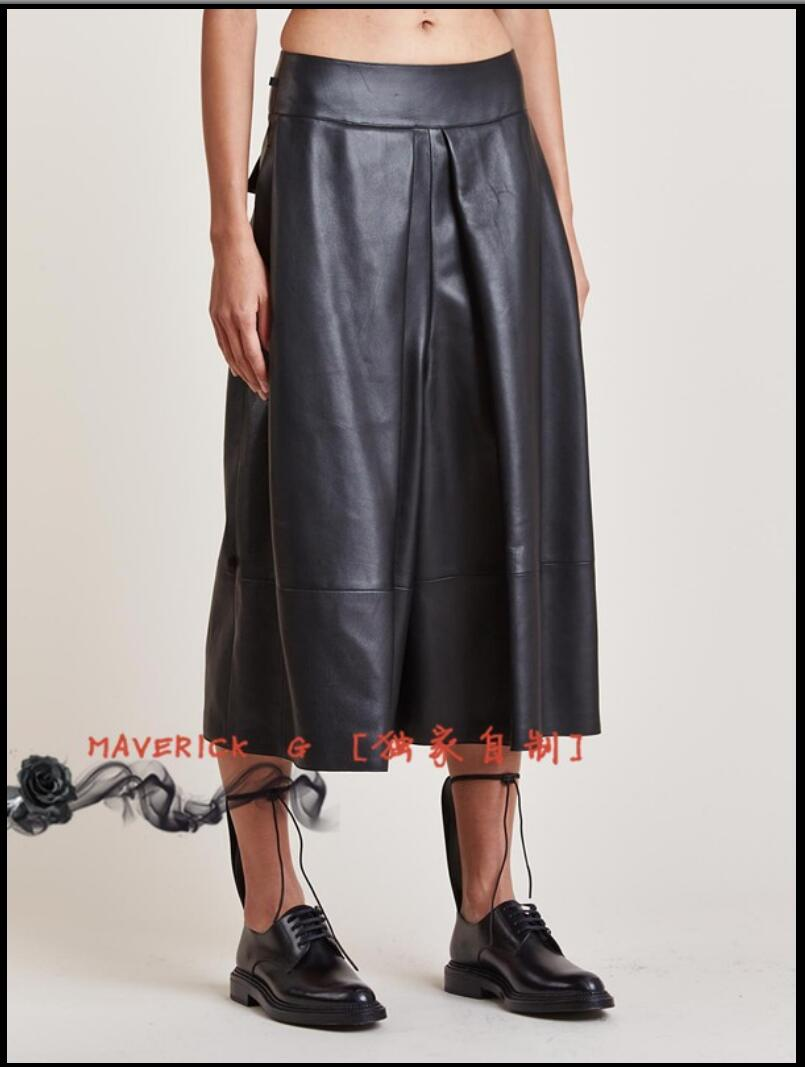 [해외]27-44 HOT New PU leather skirt men and women wide legs seven leather pants splicing leather pants singer stage costumes Culottes/27-44 HOT New PU