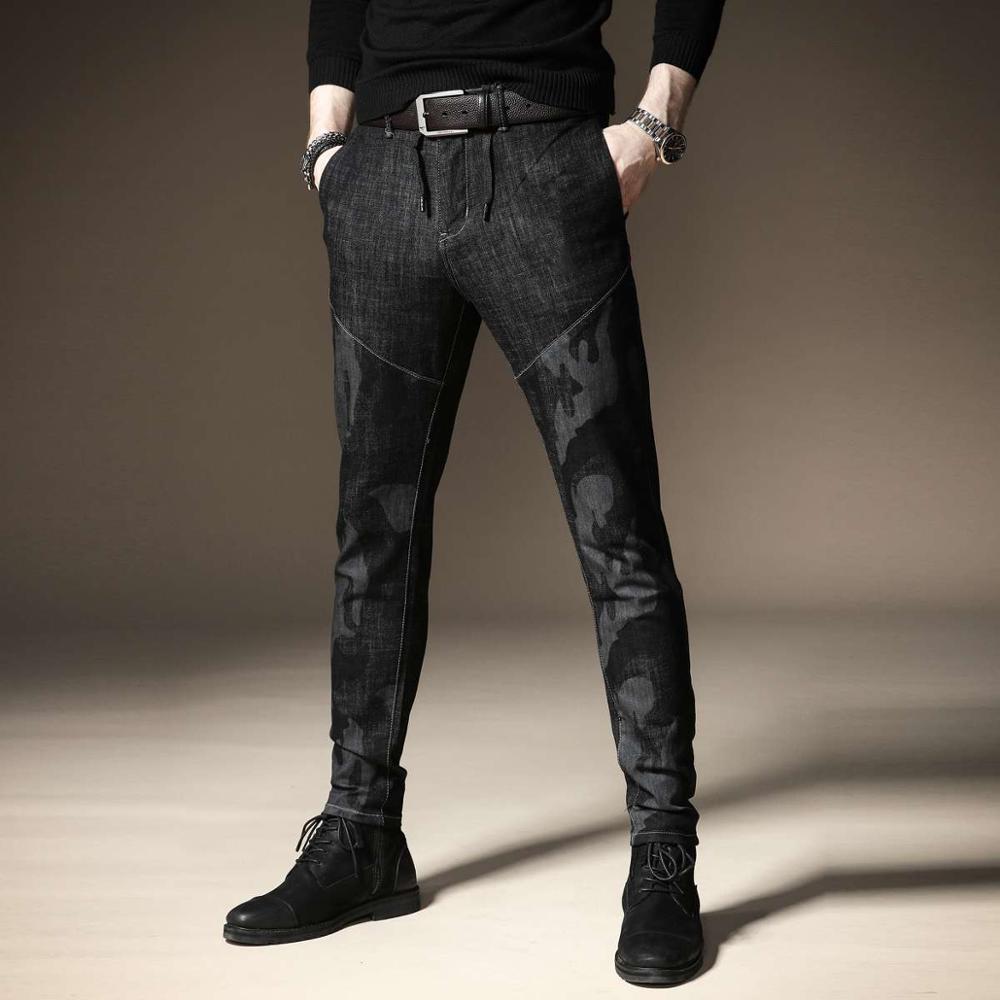 무료 배송 새로운 패션 남성 남성 캐주얼 원래 위장 청바지 남성 플러스 벨벳 가을 바느질 바지 남성 슬림 한국어