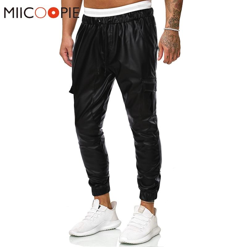 패션 탄성 가짜 가죽 남성 카고 바지 바지 멀티 포켓 가죽 조깅 스선 팬츠 streetwear pantalones hombre xxl