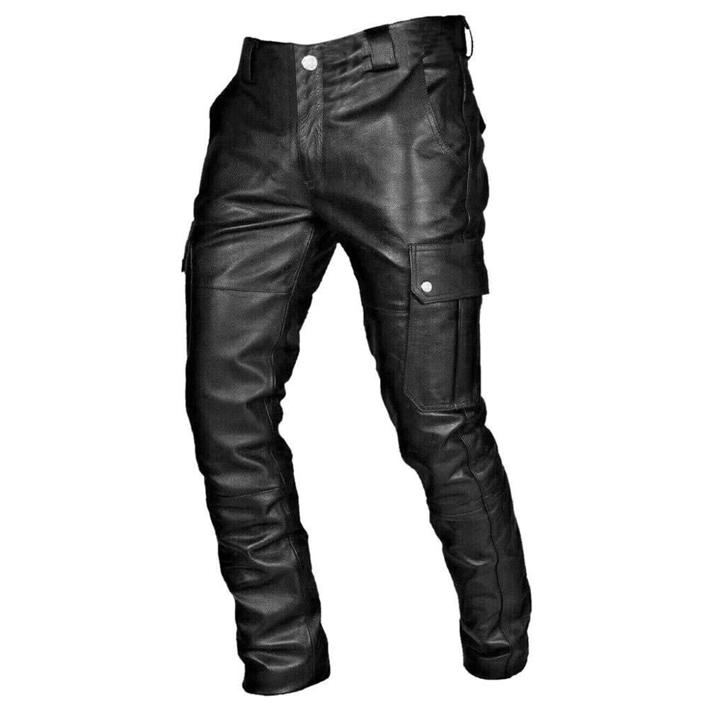 새로운 겨울 봄 남성 스키니 가죽 바지 패션 가짜 가죽 바지 남성 바지 무대 클럽 착용 바이커 펑크 고딕 바지
