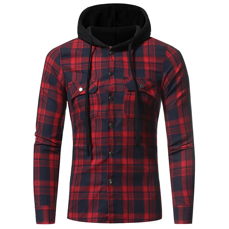 [해외]남자 격자 무늬 셔츠 2018 새로운 패션 한국어 와일드 긴 Retail 플란넬 후드 셔츠 캐주얼 슬림 피트 플러스 사이즈 코튼 남성 의류 레드/Men Plaid Shirts 2018 New Fashion Korean Wild Long Sleeve Flannel