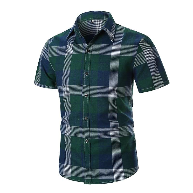 [해외]2019 Summer Men`s Casual Shirts Cotton Polyester Plaid Turn-down Collar Short Sleeved Slim Red Green Fashion Male Dress Shirts/2019 Summer Men`s C